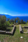 奥赫里德湖看法从圣Panteleimon教会的 库存图片