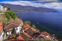 奥赫里德,马其顿沿海看法  免版税库存图片