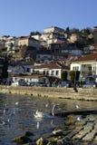 奥赫里德,马其顿, 2015年12月20日:奥赫里德和湖 联合国科教文组织城市 免版税库存照片