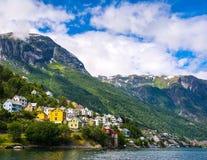 奥达是奥达自治市的一个镇在霍达兰县,Hardanger区在挪威 位于在Trolltunga附近 免版税库存图片