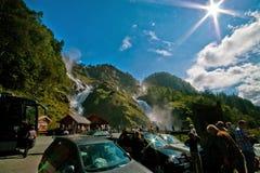 奥达瀑布,挪威 免版税库存图片