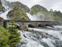 奥达,挪威- 2016年5月29日:Latefossen瀑布 免版税库存照片