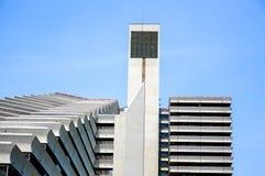奥运村是一个双塔结构在蒙特利尔 免版税库存照片