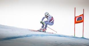 奥迪12月28日2017年-博尔米奥意大利- FIS滑雪世界杯 免版税库存图片