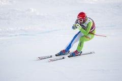 奥迪12月28日2017年-博尔米奥意大利- FIS滑雪世界杯 免版税库存照片