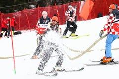 奥迪FIS世界杯精神滑雪坡道的障碍滑雪准备 库存图片