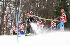 奥迪FIS世界杯精神滑雪坡道的障碍滑雪准备 免版税库存照片