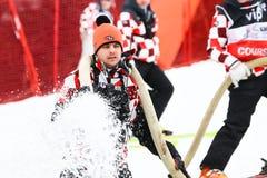 奥迪FIS世界杯精神滑雪坡道的障碍滑雪准备 库存照片