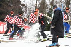 奥迪FIS世界杯精神滑雪坡道的障碍滑雪准备 免版税库存图片