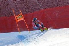 奥迪FIS高山滑雪的世界杯-下坡的人的班奈特布赖斯 免版税库存照片