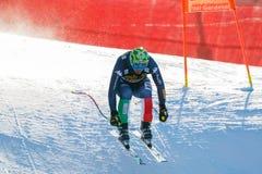 奥迪FIS高山滑雪的世界杯-下坡的人的巴黎多米尼克 库存照片
