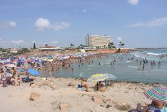 奥里韦拉肋前缘被认可作为欧洲的最生态的干净的区域,著名为它干净的海滩 免版税库存照片