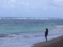 奥阿胡岛北部岸 库存照片
