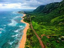 奥阿胡岛夏威夷北部岸  免版税库存照片