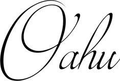 奥阿胡岛文本标志例证 库存图片