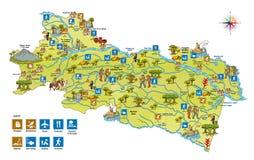 奥雷利亚纳省的旅游地图在厄瓜多尔的亚马逊地区 皇族释放例证
