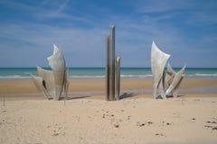 奥马哈海滩纪念金属纪念碑 库存照片