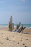 奥马哈海滩金属纪念碑 库存照片