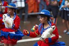 奥鲁罗狂欢节的Llamerada舞蹈家在玻利维亚 库存照片