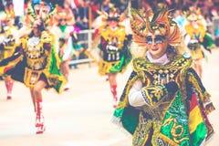 奥鲁罗,玻利维亚- 2018年2月10日:奥鲁罗狂欢节的舞蹈家 免版税图库摄影