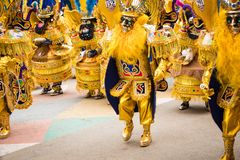 奥鲁罗,玻利维亚- 2018年2月10日:奥鲁罗狂欢节的舞蹈家 免版税库存照片