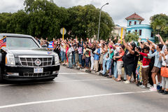 奥巴马总统汽车队在哈瓦那,古巴2016年 库存照片