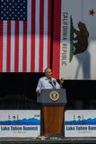 奥巴马Speaking总统第20个每年太浩湖山顶的4 库存图片