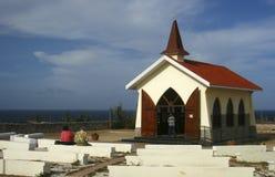 女低音aruba教堂远景 免版税库存图片