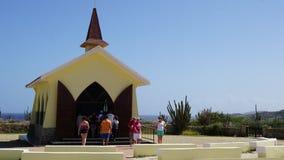女低音aruba教堂远景 免版税图库摄影