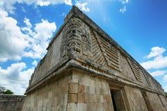 女修道院四边形,乌斯马尔,墨西哥的废墟, 免版税库存照片