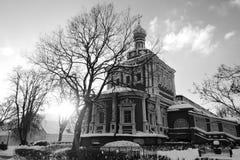 女修道院novodevichy的莫斯科 黑白冬天照片 库存图片