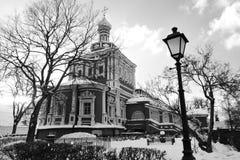 女修道院novodevichy的莫斯科 黑白冬天照片 免版税库存图片