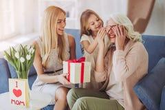 女儿、母亲和祖母在家 库存照片