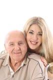 女儿全部祖父爱垂直 库存照片