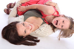 女儿兴奋系列乐趣母亲作用 免版税库存照片
