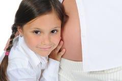 女儿她的孕妇 图库摄影