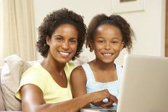 女儿家庭膝上型计算机母亲沙发使用 免版税库存照片
