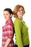 女儿愉快的查出的母亲身分 免版税图库摄影