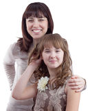 女儿愉快的母亲纵向假期年轻人 库存照片