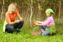 女儿母亲蘑菇采摘 免版税库存图片