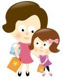 女儿母亲购物 库存照片
