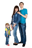 女儿父亲牛仔裤照顾年轻人 库存图片