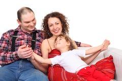 女儿皮革父项沙发白色 库存照片