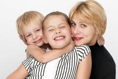 女儿系列愉快的母亲儿子 免版税库存图片