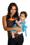 女儿讲西班牙语的美国人母亲 免版税库存图片