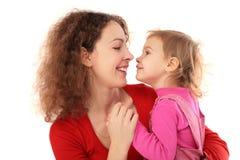 女儿fac表面母亲 免版税库存照片