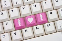女同性恋的互联网约会站点 库存照片