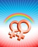 女同性恋的关系性别标志 库存照片