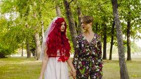 女同性恋的婚礼 新娘和新郎在公园走 股票视频