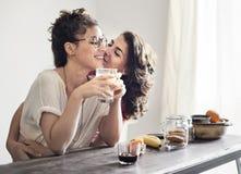 女同性恋的户内一起夫妇概念 免版税库存图片